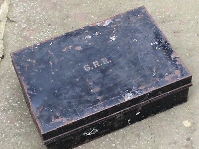 Vintage Industrial Box Marked G.R.R. Secure 2 Lever Lock No Key
