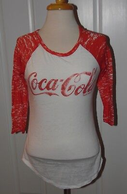 Coca Cola Womens T-Shirt Off White, Red 3/4 Sleeves Very Lightweight Size XSmall