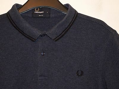 ff56fd706 FRED PERRY SLIM Fit Polo Shirt in Grey Marl with Red & Blue Gingham ...