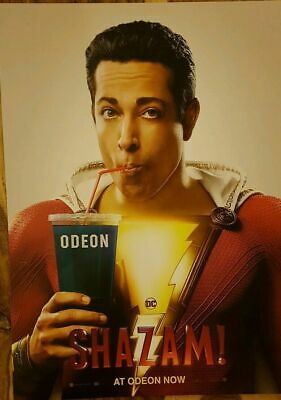 Shazam Movie Poster Zachary Levi, Limited Edition Release, Odeon, A3, NEW