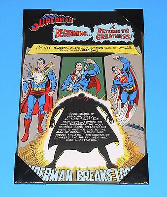 """Superman """"Beginning A Return to Greatness!"""" 19"""" x 13"""" Wooden Poster NEW"""