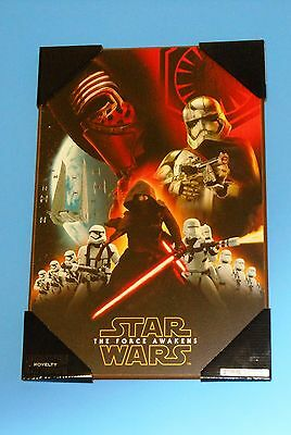 """Star Wars The Force Awakens 19"""" x 13"""" Wooden Poster Rare NEW"""