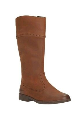 New Clarks Girls Sami Twist Leather Brown Boots - Uk Size 9G