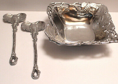 Arthur Court Silver Plate Elephant Bowl with Matching Elephant Serving Spoons