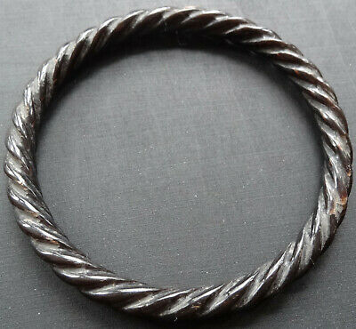 antique Victorian carved horn jet black rope twist bangle bracelet -D289