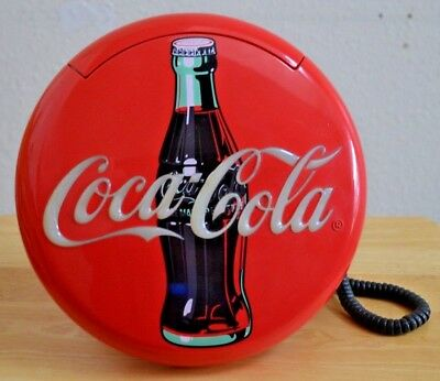1995 Vintage Red Button Coca Cola Telephone with Lights and Ringer-Tested - Work