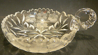 """Vintage Scalloped Etched Flowers Cut Glass Nappy 6.13"""" x 1.5"""" Very Good Cond"""
