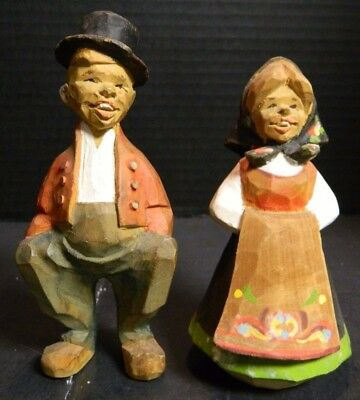 """Vintage Hand Carved Henning Carvings Norway Man & Woman 5.43"""" x 2.5"""" Very Good"""