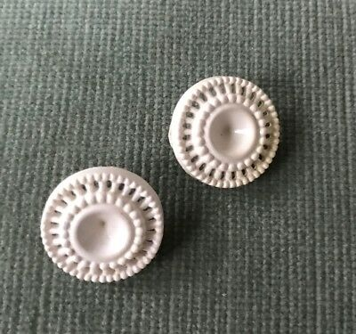 """Pair of Vintage Early Plastic Cream Perforated Decorative Buttons 3/4"""""""