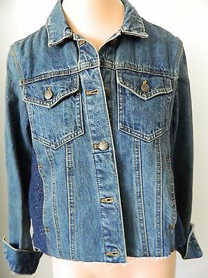 690c0a246b4e FREE PEOPLE  148 Lace Side Dark Blue Denim Jean Jacket -  35.00 ...