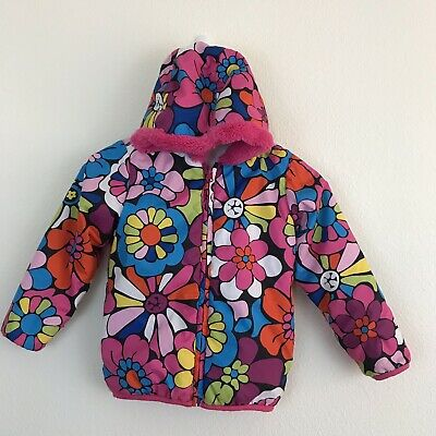 size 10 -as Is-blue Green Good Hanna Andersson Girls Jacket Coat Floral Flower 140