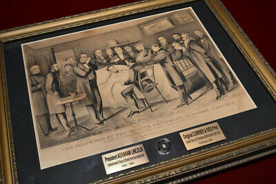 LINCOLN Assassination Death Bed Cloth, CURRIER & IVES Print, BOOK, COA, Frame