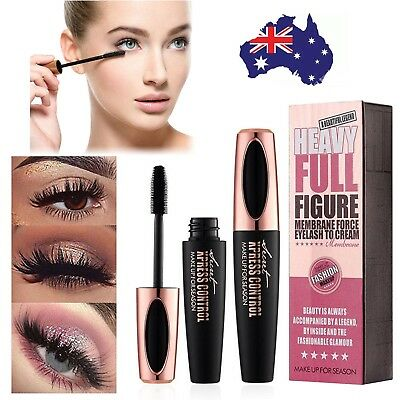 Black 4D Silk Fiber Eyelash Mascara Extension Makeup Waterproof Kits Eye Lashes@