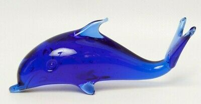Vintage Cobalt Blue Blown Glass Dolphin Paperweight Bullicante Italy Murano Art