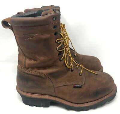 efdb396d7e5 RED WING MENS Brown Leather Steel Toe Logger max Boots #4417 Size 11.5 VGC