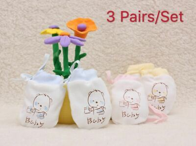 Baby Breathable Cotton Anti Scratch Glove Baby Mittens, Unsex, 3 Pairs/Set