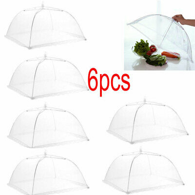 Lot 6 Pop Up Mesh Screen Food Cover Tents White - Keep Out Flies Bugs Mosquito