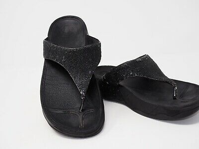 d80731db0 FitFlop Women s Black Suede w Beads Thong Sandals Size 8 M US Eur 39