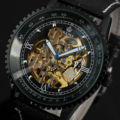 Black Automatic Mechanical Watch Men's Leather Strap Golden Skeleton Steampunk