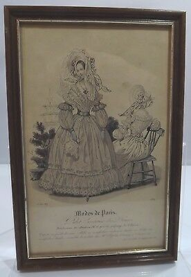 Framed Antique Victorian Hand-Coloured French Ladies Fashion Print, Dated 1837