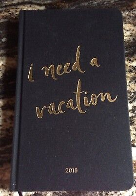 kate spade I NEED A VACATION Agenda Monthly Calendar Planner (Jan-Dec 2018) NEW