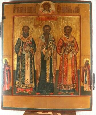 Russian icon three chosen saints 19th century 100% original