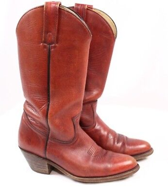 FRYE 2356 Brick Rust Red Brown Leather Cowboy Western Vintage USA Boots Men 8 D