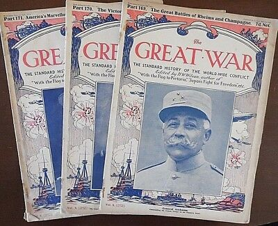 The Great War Magazine x 3, from 1917, Part 169-170-171, Pub by Amalgamated Pres