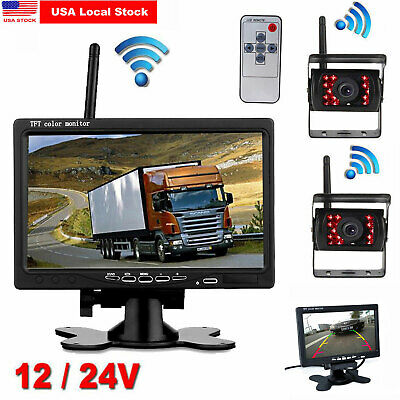 """7"""" LCD Monitor+ 2 Wireless Rear View Backup Camera Night Vision for RV Truck Bus"""