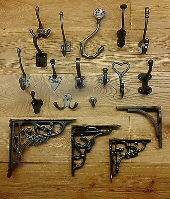 Antique Vintage Style Classic Cast Iron Coat Hooks Signs & Brackets