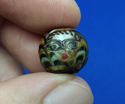 1 Pcs. Near Eastern Islamic Three God Face Roman Old Mosaic Glass Bead BE447