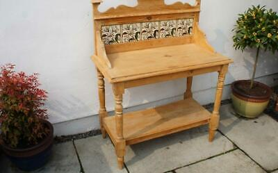 Victorian  Pine tiled back washstand