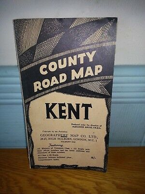 Antique Map County Road Map Kent Vintage Geographers' National Grid Fold Out