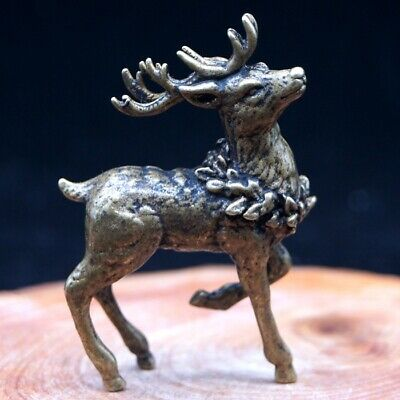 Chinese Rare Collectible Old brass Handwork Antique Sika Deer Princess Statue