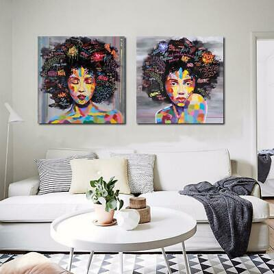Modern Style Watercolor African Women Frameless Canvas Painting Wall Home ZZ