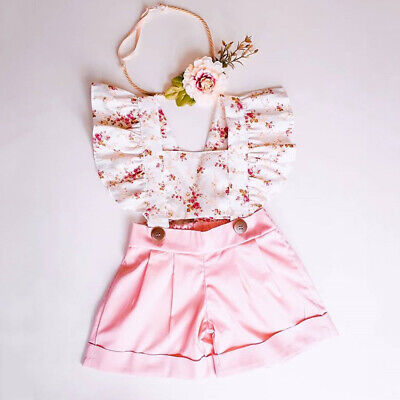 AU Toddler Baby Girl Floral Bib Pants Romper Jumpsuit Overalls Outfits Sunsui
