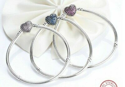 Silver Snake Chain Bracelet with PAVE HEART CLASP Charm Steriling Silver