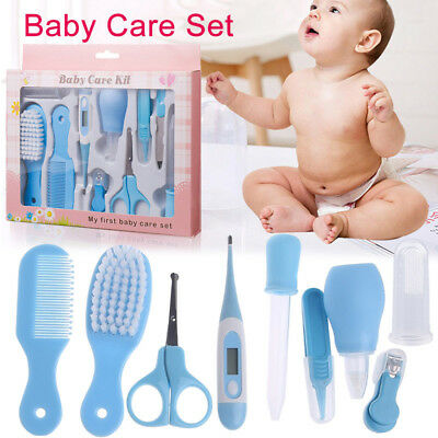 10pcs/Set Newborn Baby Kid Infant Hair HealthCare Thermometer Grooming Brush Kit
