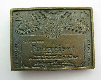 Vintage 1970s Brass BUDWEISER LAGER BEER Belt Buckle