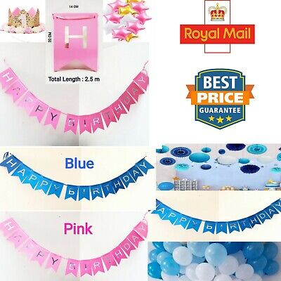 Happy Birthday Bunting Garland silver Alphabet Hanging Banner Party Decorations