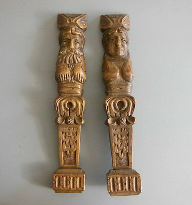 Antique wood corbel brackets Salvaged furniture carving 16.26