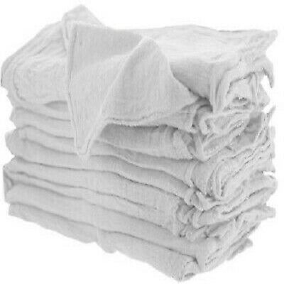 """100 Pcs White Shop Towels Heavy Rags 14X15"""" Commercial Cleaning A Grade Rags"""