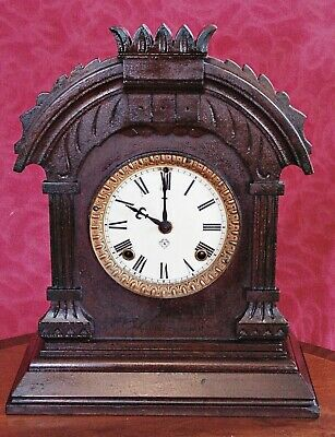 "Antique American ""Ansonia"" 14-Day Oak Case Striking Mantel Clock"