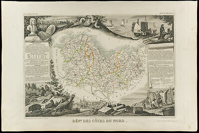 1852 - North Side - Map Geographical Levasseur. Department D-Sides'Armor