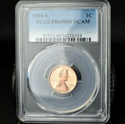 1993-S~1C~Lincoln Cent~Pcgs Pr69Rd Dcam~B/U~Gorgeous Bright Red Beauty~