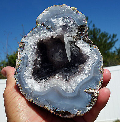 Amethyst Quartz Crystal GEODE Pair of Crystals in Agate & Calcite Points