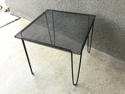 Iron Perforated Side Table Vintage Mid Century Metal French Modern Eames Era
