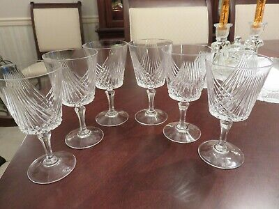 "6 Clear Crystal 5 3/8"" Wine Glass 6 oz Stems Intersecting Lines Gorham ? LOOK"