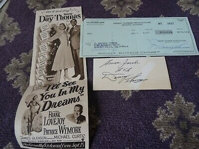 DANNY THOMAS- US Movie Star - Signed Cheque and  Film Advert &Signed card 1974