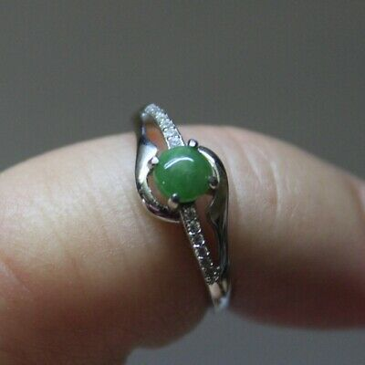 "Size 5 **  CERTIFIED Natural ""A"" Untreated Green Jadeite JADE S925 RING"